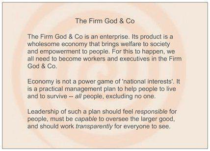 God-and-Co propose a new approach to the economy